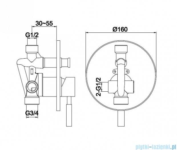 Kohlman Roxin podtynkowa bateria wannowo-prysznicowa QW210R