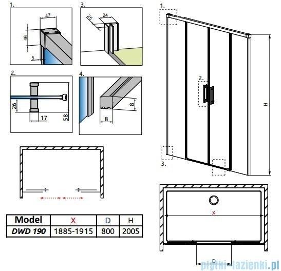 Radaway Idea Dwd drzwi wnękowe 190cm szkło przejrzyste 387129-01-01