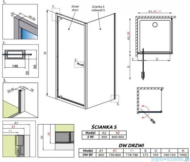 Radaway Twist DW+S Kabina prysznicowa 80x90 szkło przejrzyste 382001-01/382012-01