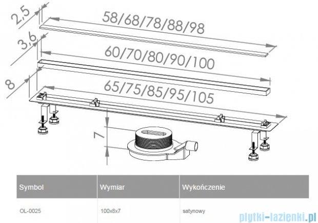 New Trendy Lux Slim odpływ liniowy 100x8x7cm satyna OL-0025