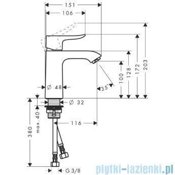 Hansgrohe Metris Jednouchwytowa bateria umywalkowa 110mm DN15 31084000