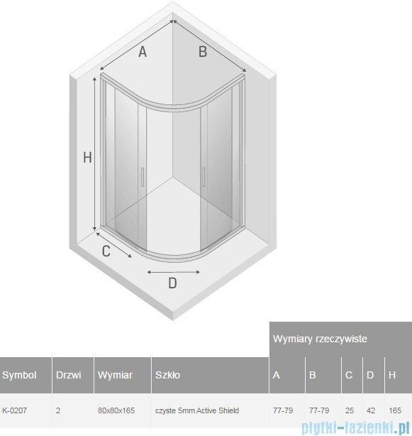 New Trendy Varia kabina półokrągła 80x80x165cm przejrzyste K-0207