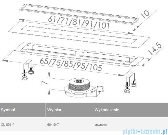 New Trendy odpływ liniowy LUX 60x10x7cm satyna OL-0011