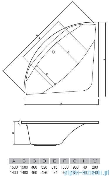 Vayer Bumerang 150x150cm Wanna symetryczna