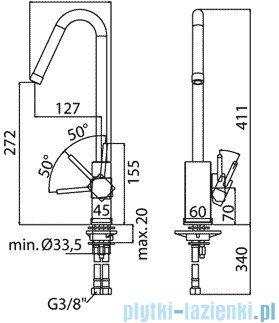 Paffoni Bateria zlewozmywakowa stojąca Level Asta chrom LEA180CR