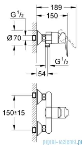 Grohe Bauedge zestaw natryskowy chrom 122277