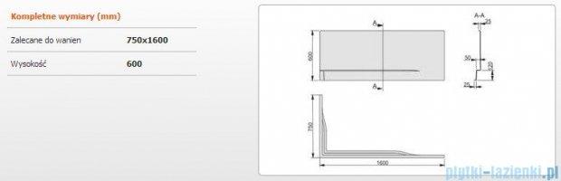 Sanplast Obudowa do wanny Free Line prawa, OWPLP/FREE 75x160 cm 620-040-0280-01-000