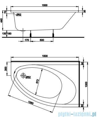 Koło Elipso Wanna asymetryczna 150x100cm Prawa XWA0850