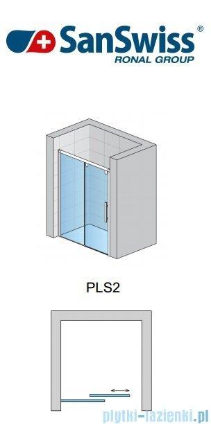 SanSwiss Pur Light S PLS2 Drzwi rozsuwane 120cm profil biały szkło Master Carre Lewe PLS2G1200430