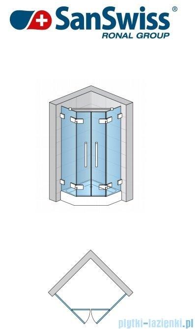 SanSwiss Pur PUR52 Drzwi 2-częściowe do kabiny 5-kątnej 45-100cm profil chrom szkło Efekt lustrzany PUR52SM11053