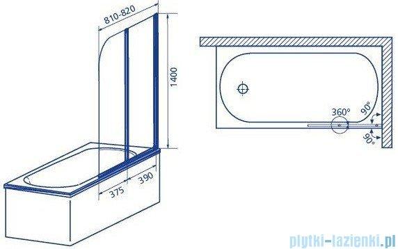 Aquaform Modern 2 parawan nawannowy 81x140cm szkło przejrzyste profil chrom mat 06963