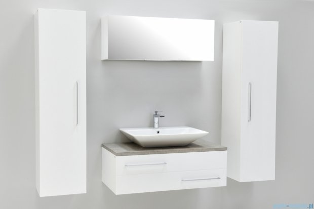 Antado Susanne szafka z umywalką Libra biała/blat szary 95x46cm AS-140/95-WS+AS-B/3-140/95-74+UCS-TC-66