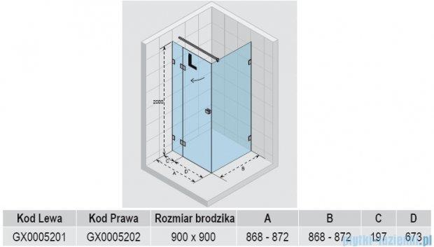 Riho Kabina prysznicowa Scandic Lift M203 90x90x200 cm PRAWA GX0005202