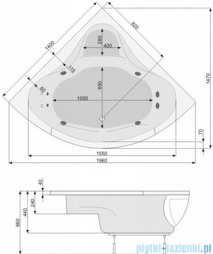 Poolspa Wanna symetryczna FRANCJA 140x140 + stelaż PWS3210ZS000000