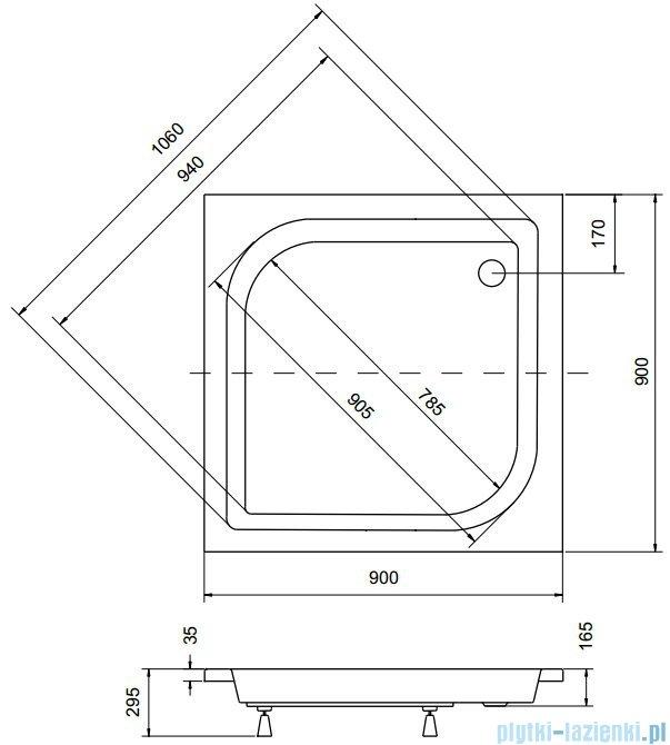 Sea Horse Sigma zestaw kabina natryskowa kwadratowa 90x90x162cm chinchila+brodzik BKZ2/3/QK