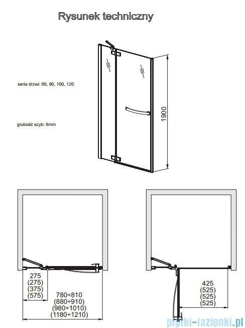 Aquaform HD Collection drzwi uchylne do wnęki prawe 90cm przejrzyste 103-09396
