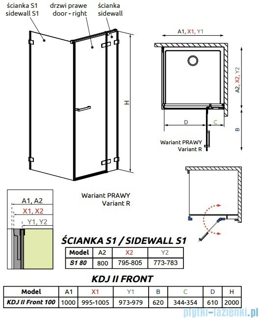 Radaway Arta Kdj II kabina 100x80cm prawa szkło przejrzyste 386455-03-01R/386042-03-01R/386020-03-01