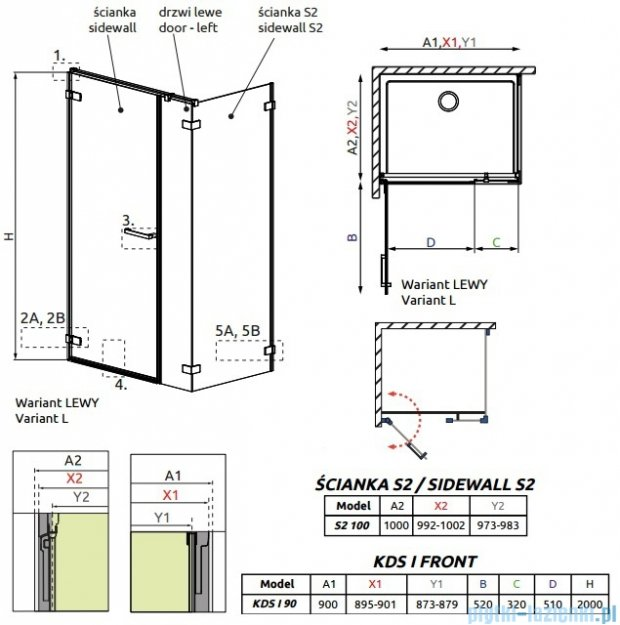 Radaway Arta Kds I kabina 90x100cm lewa szkło przejrzyste 386520-03-01L/386100-03-01L/386112-03-01