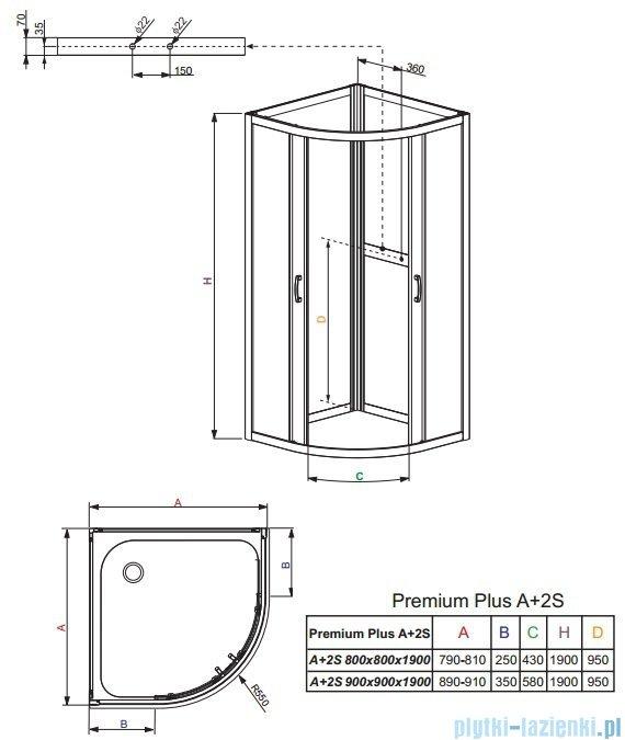 Radaway Premium Plus A+2S kabina czterościenna półokrągła 90x90 szkło przejrzyste/grafit 30403-01-01N/33433-01-05N