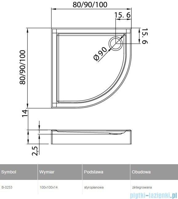New Trendy Columbus brodzik półokrągły zintegrowany 100x100cm B-0253