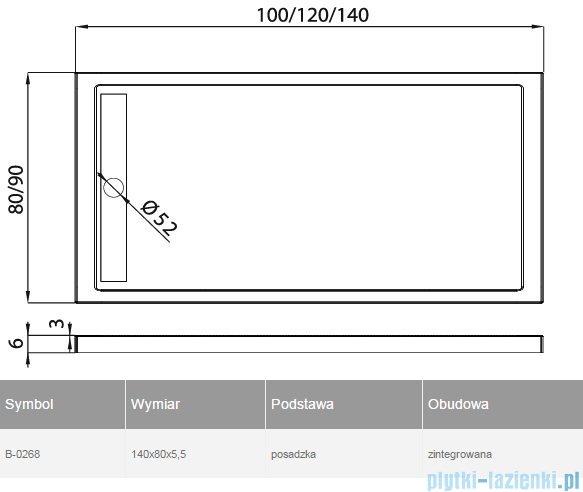 New Trendy Alter brodzik prostokątny 140x80x5,5cm B-0268