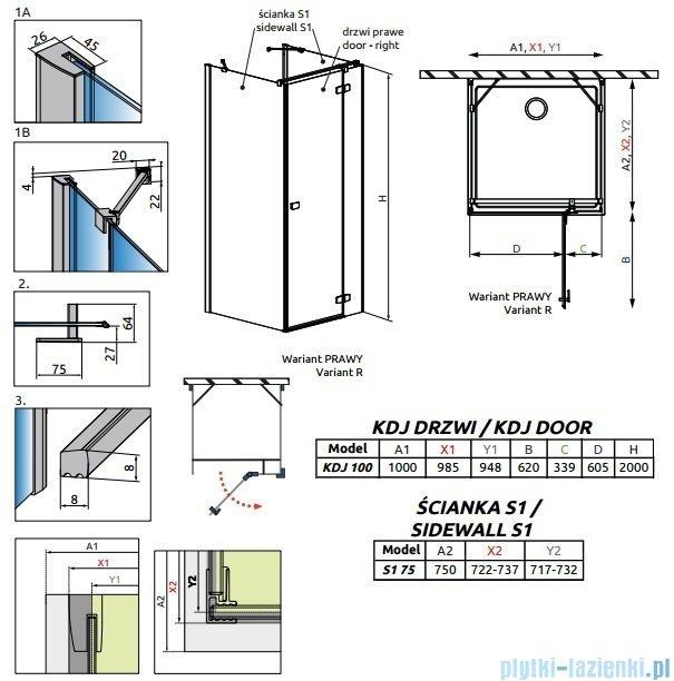 Radaway Fuenta New Kdj+S kabina 75x100x75cm prawa szkło przejrzyste 384022-01-01R/384049-01-01/384049-01-01