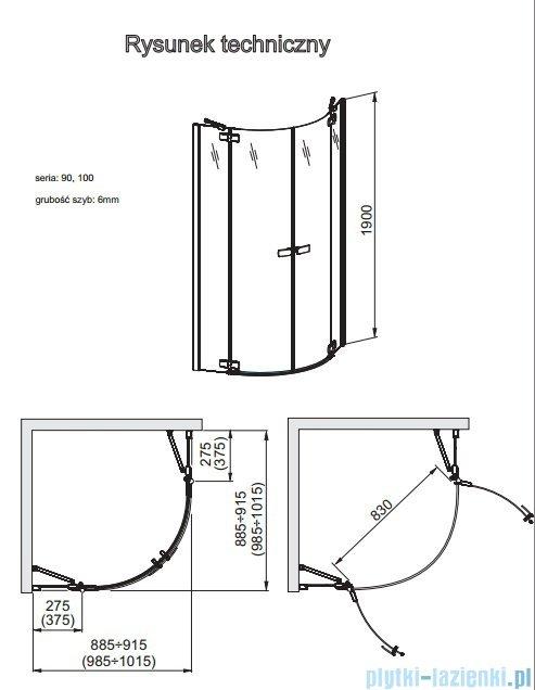 Aquaform Verra Line Kabina półokrągła 100x100cm przejrzyste 100-09331