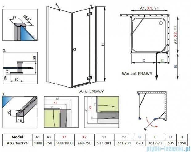 Radaway Kabina prysznicowa Almatea KDJ 100x75 prawa szkło grafitowe 32145-01-05NR