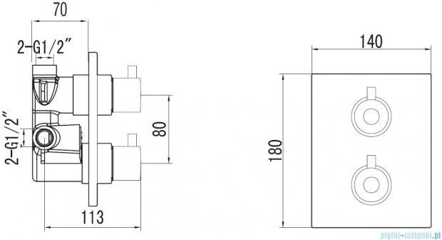 Art Platino Term bateria termostatyczna podtynkowa z przełącznikiem  chrom TER–BPD.KW.220C