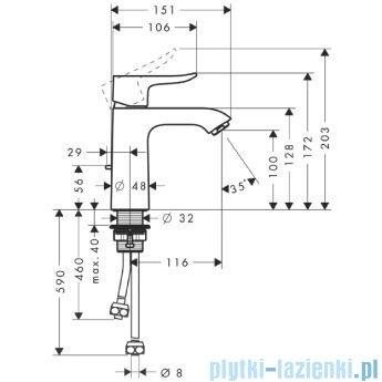 Hansgrohe Metris Jednouchwytowa bateria umywalkowa 110mm DN15 31074000