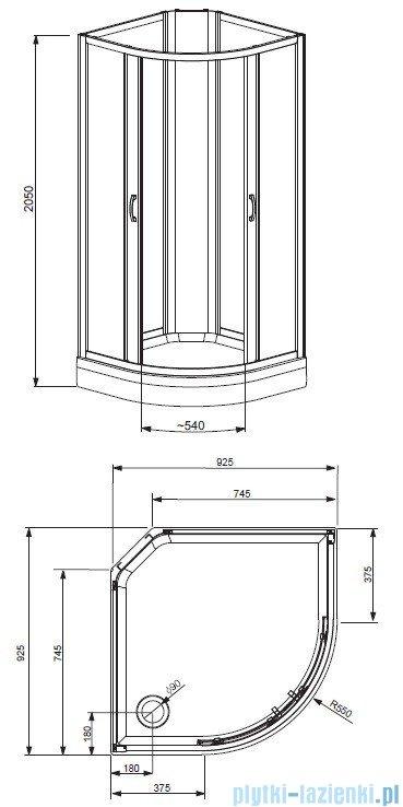 Quattra Radaway Kabina półokrągła 925×925 szkło grafitowe, satinato + brodzik + panel 33003-01-05N,33103-01-02N