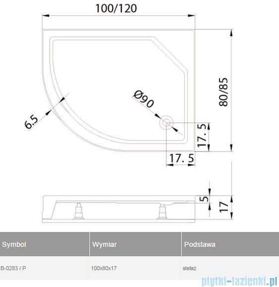 New Trendy New Maxima brodzik asymetryczny ze zintegrowaną obudową 100x80x17cm prawy B-0283