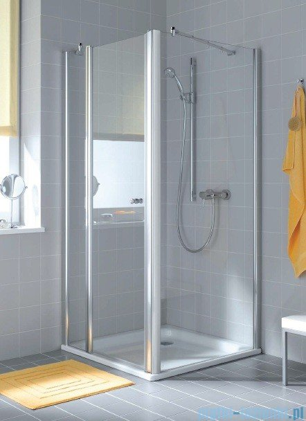 Kermi Atea Drzwi wahadłowe jednoskrzydłowe z polem stałym, prawe, szkło przezroczyste, profile białe 95cm AT1GR095182AK