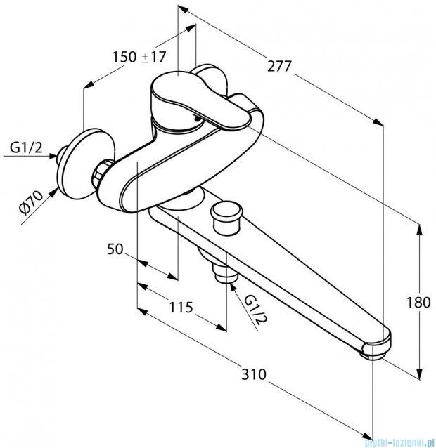 Kludi Objekta Specjalna jednouchwytowa bateria wannowo-natryskowa DN 15 chrom 324910575