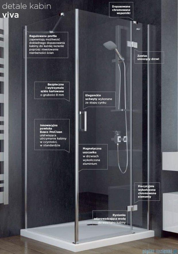 Besco Viva kabina pięciokątna lewa 90x90x195cm przejrzyste V5L-90-195-C