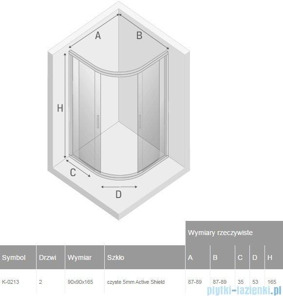 New Trendy Varia kabina półokrągła 90x90x165cm przejrzyste K-0213