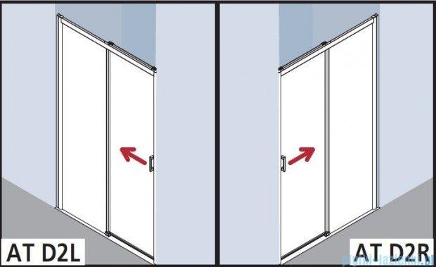 Kermi Atea Drzwi przesuwne bez progu, lewe, szkło przezroczyste, profile białe 130x185 ATD2L130182AK