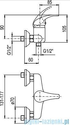 KFA NEFRYT Bateria natryskowa ścienna bez natrysku chrom 506-010-00