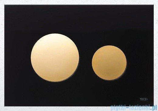 Tece Przycisk spłukujący ze szkła do WC Teceloop szkło czarne, przyciski złote 9.240.658
