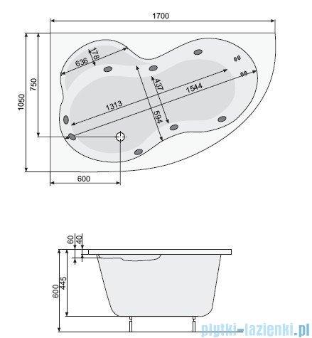 Poolspa Wanna asymetryczna MISTRAL 170x105 prawa + hydromasaż Smart 1 PHA4T10ST1C0000