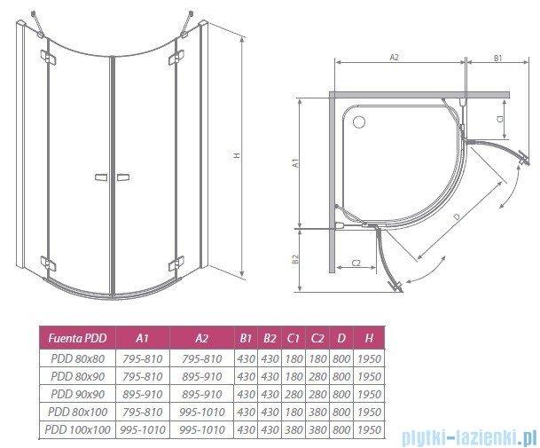 Radaway Kabina prysznicowa Fuenta PDD 80x80 szkło przejrzyste + Brodzik Delos A + syfon 381002-01N