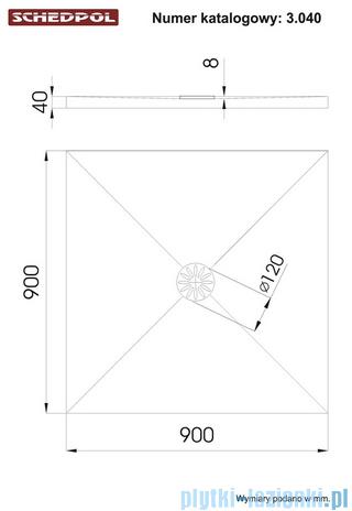 Schedpol De Luxe brodzik kwadratowy z syfonem 90x90x4cm 3.040