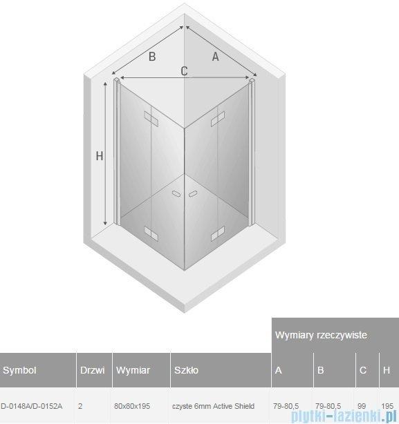 New Trendy New Soleo 80x80x195 cm kabina kwadratowa przejrzyste D-0148A/D-0152A