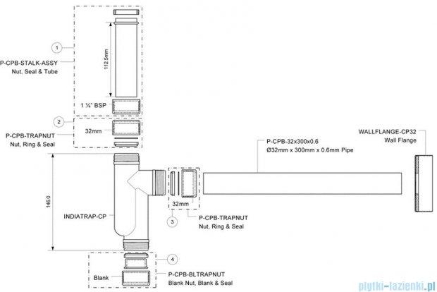 McAlpine Syfon umywalkowy rurowy chrom CAT32-CB