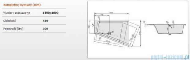 Sanplast Space Line Wanna trapezowa prawa+adapter z pokrywką WTP/SPACE 180x140 cm, 610-100-1350-01-000