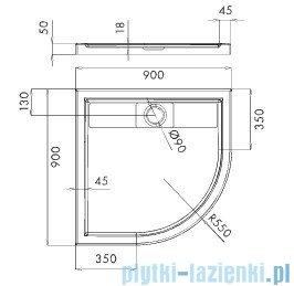 Schedpol Lapis brodzik półokrągły z klapką odpływu 90x90x5cm R55 3.4223