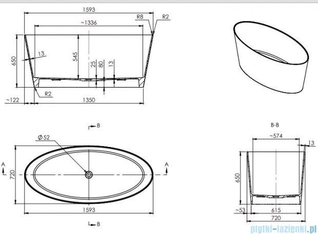 Omnires MARBLE+ROMA 159 CM wanna 159x72cm wolnostojąca biało-czarny mat