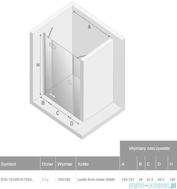New Trendy Modena Plus drzwi prysznicowe 150cm lewe szkło przejrzyste EXK-1019/EXK-1043L