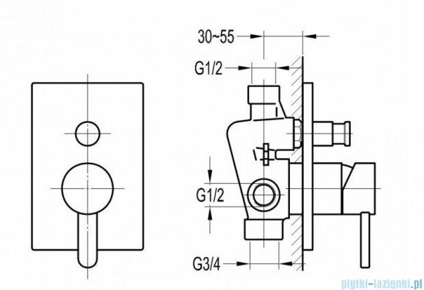 Omnires Darling bateria natryskowo-wannowa podtynkowa z przełącznikiem chrom DA5035