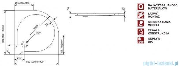 Aquaform Delta brodzik półokrągły superpłytki 80x80x3,5cm 06901